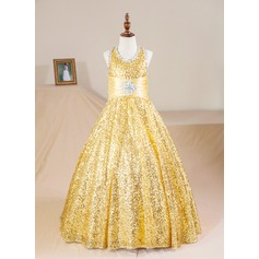 Ball Gown Floor-length Flower Girl Dress - Sequined Sleeveless Halter With Lace/Beading (Petticoat NOT included)
