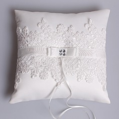 Elegant Ring Pillow in Satin/Lace With Rhinestones (103073718)