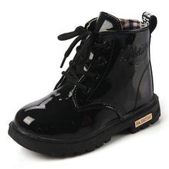 Girl's Leatherette Flat Heel Closed Toe Boots With Lace-up