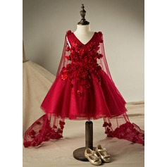 Ball Gown Knee-length Flower Girl Dress - Polyester/Cotton Sleeveless V-neck With Flower(s)/Rhinestone