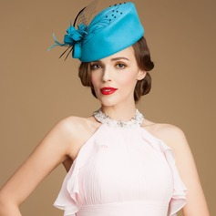 Ladies' Charming Autumn Wool With Feather/Tulle Fascinators/Bowler/Cloche Hat