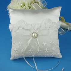 Lovely Ring Pillow in Satin With Pearl Lace