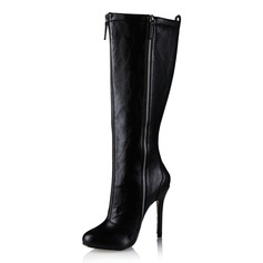 Leatherette Stiletto Heel Pumps Knee High Boots With Zipper shoes