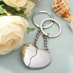 "Personalized ""Split Heart"" Zinc Alloy Keychains"