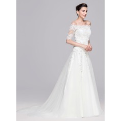 A-Line/Princess Sweetheart Court Train Tulle Wedding Dress With Beading Appliques Lace Sequins