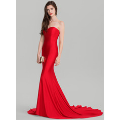 Trumpet/Mermaid Sweetheart Court Train Jersey Evening Dress (017126596)