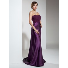 Empire Sweetheart Sweep Train Charmeuse Evening Dress With Ruffle