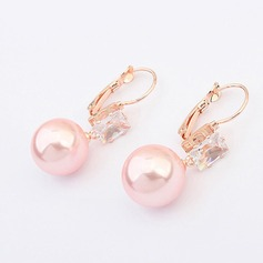 Shining Alloy Zircon With Imitation Pearl Ladies' Fashion Earrings