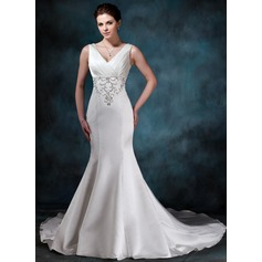 Trumpet/Mermaid V-neck Chapel Train Satin Wedding Dress With Embroidered Ruffle Beading