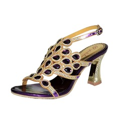 Women's Leatherette Chunky Heel Sandals Slingbacks With Rhinestone