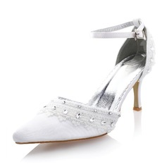 Women's Silk Like Satin Stiletto Heel Closed Toe Pumps With Rhinestone Stitching Lace