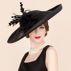 Ladies' Glamourous Cambric With Feather/Silk Flower Bowler/Cloche Hat