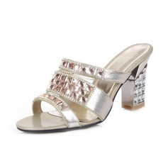 Real Leather Chunky Heel Sandals Slippers With Rhinestone shoes