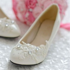 Women's Leatherette Stiletto Heel Closed Toe Pumps With Rhinestone Flower
