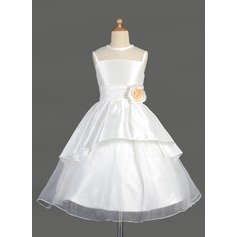 A-Line/Princess Tea-length Flower Girl Dress - Taffeta/Organza Sleeveless Scoop Neck With Lace/Flower(s)