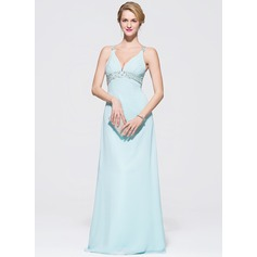 Empire V-neck Floor-Length Chiffon Prom Dress With Ruffle Beading Sequins