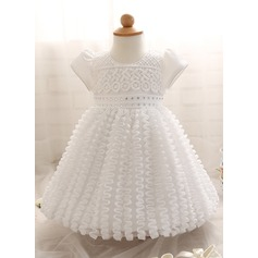 Ball Gown Tea-length Flower Girl Dress - Cotton Blends Short Sleeves Scoop Neck