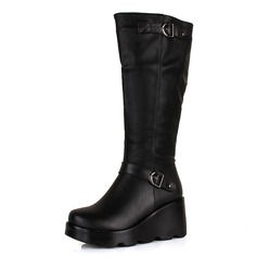 Leatherette Wedge Heel Knee High Boots With Buckle shoes