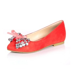 Suede Flat Heel Flats Closed Toe With Rhinestone Bowknot shoes