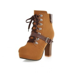 Women's Suede Chunky Heel Platform Closed Toe Ankle Boots With Buckle Braided Strap shoes