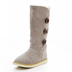 Suede Flat Heel Flats Closed Toe Mid-Calf Boots With Button shoes