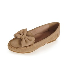 Suede Flat Heel Flats Closed Toe With Bowknot shoes
