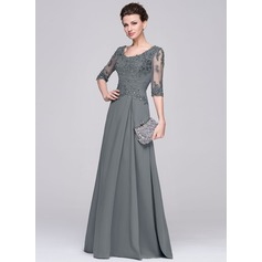A-Line/Princess Scoop Neck Floor-Length Chiffon Mother of the Bride Dress With Ruffle Beading Appliques Lace Sequins (008058408)