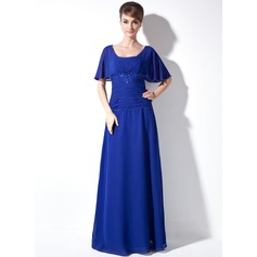 A-Line/Princess Square Neckline Floor-Length Chiffon Mother of the Bride Dress With Ruffle Lace Beading Sequins