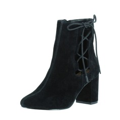 Women's Suede Chunky Heel Pumps Closed Toe Boots Ankle Boots With Lace-up shoes