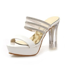 Patent Leather Chunky Heel Sandals Pumps Platform Peep Toe With Rhinestone shoes