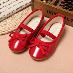 Girl's Leatherette Flat Heel Round Toe Closed Toe Flats With Bowknot