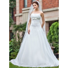 Ball-Gown Strapless Cathedral Train Satin Organza Wedding Dress With Ruffle Lace Beading Bow(s)