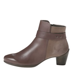 Women's Leatherette Chunky Heel Pumps Closed Toe Boots Ankle Boots With Buckle shoes