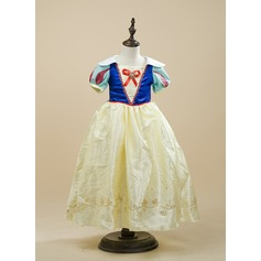 A-Line/Princess Ankle-length Flower Girl Dress - Charmeuse Short Sleeves With Beading/Bow(s)