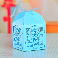 Rose Design Cuboid Favor Boxes With Ribbons (Set of 12)