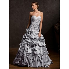 Ball-Gown Sweetheart Floor-Length Taffeta Quinceanera Dress With Appliques Lace Flower(s) Cascading Ruffles