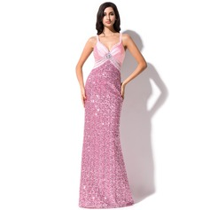 Sheath/Column Sweetheart Sweep Train Sequined Prom Dress With Beading