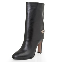 Real Leather Chunky Heel Pumps Closed Toe Mid-Calf Boots shoes