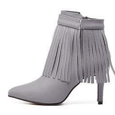 Women's Leatherette Stiletto Heel Boots Ankle Boots With Tassel shoes
