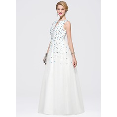 A-Line/Princess V-neck Floor-Length Satin Tulle Prom Dress With Beading Sequins