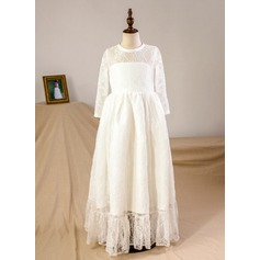 A-Line/Princess Floor-length Flower Girl Dress - Tulle/Lace Long Sleeves Scoop Neck