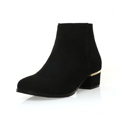 Real Leather Chunky Heel Ankle Boots With Zipper shoes