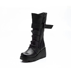 Leatherette Wedge Heel Mid-Calf Boots With Buckle Ruffles shoes