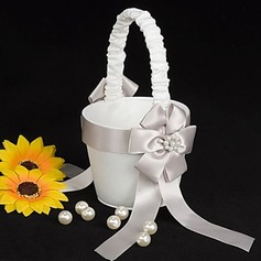 Flower Girl Basket In White Satin With Faux Peal(102018104)