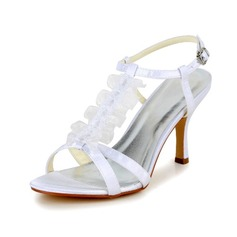 Women's Satin Stiletto Heel Pumps Sandals With Buckle Stitching Lace