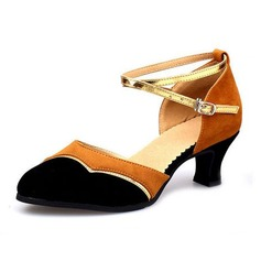 Women's Suede Heels Sandals Pumps Modern With Ankle Strap Dance Shoes