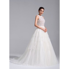 Ball-Gown Scoop Neck Chapel Train Tulle Wedding Dress With Beading Appliques Lace