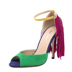 Women's Suede Stiletto Heel Sandals Peep Toe With Tassel shoes