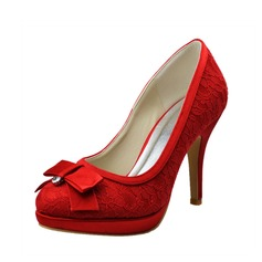 Women's Lace Stiletto Heel Closed Toe Pumps With Bowknot