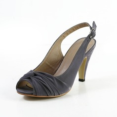 Suede Cone Heel Peep Toe Slingbacks Sandals With Buckle Ruched